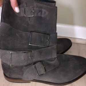 Free People Grey Suede Slip-On Boots Size 37 US 7